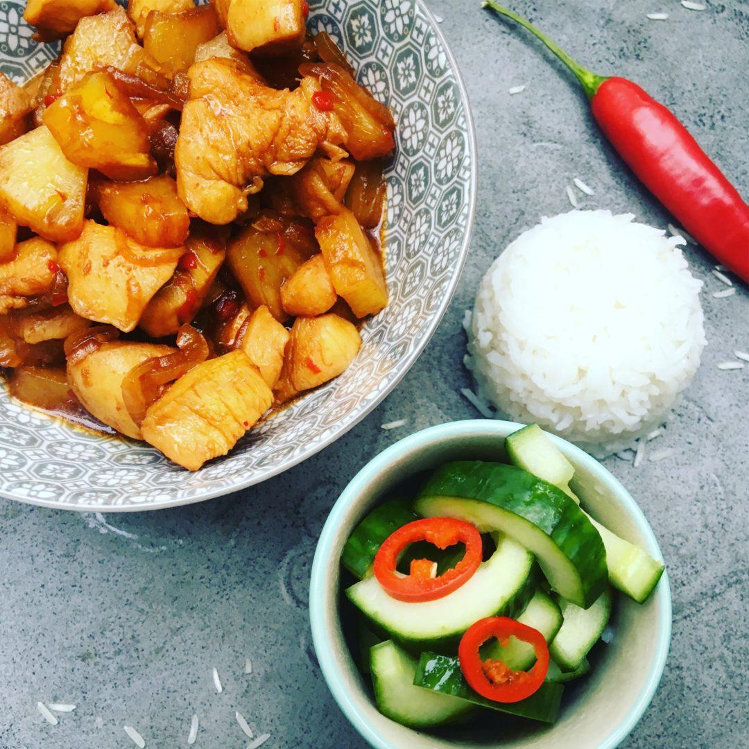 pittige kip met ananas