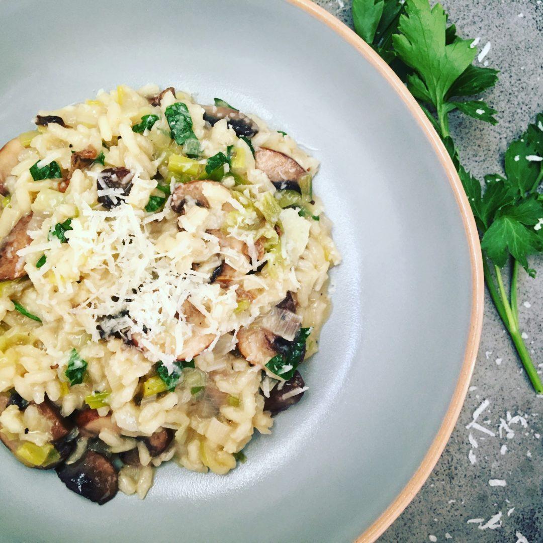 risotto met paddenstoelen en prei