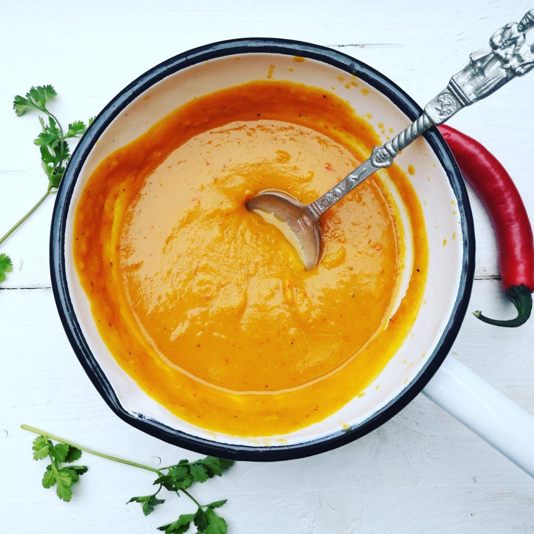 Zoete aardappel currysoep