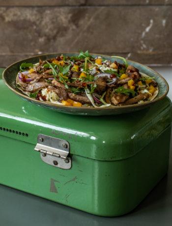 Tortilla met pulled pork van oesterzwam